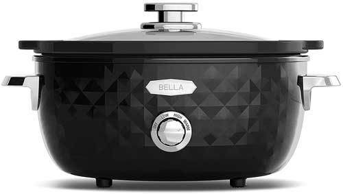 Bella BLA13898 Diamonds Collection Manual Slow Cooker, 6-Quart, Black