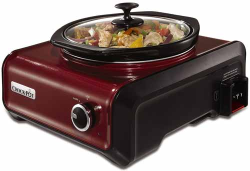 Crock-Pot SCCPMD2-R Hook Up Round Connectable Entertaining Slow Cooker System, 2-Quart, Metallic Red