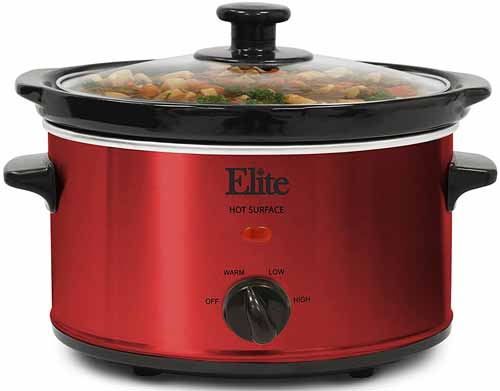 Elite Cuisine MST-275XR Maxi-Matic 2 Quart Oval Slow Cooker, Red (Stainless Steel Finish)
