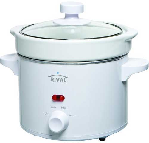 Rival 2 Quart Slow Cooker Crock Pot, White with Tempered Glass Top